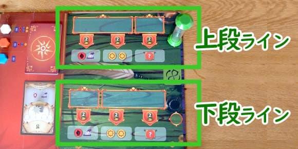 上段ラインと下段ライン|ペンデュラム ボードゲーム