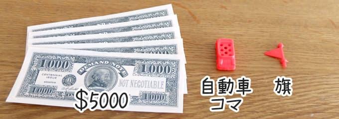 自動車コマ・旗・$5,000|人生ゲーム