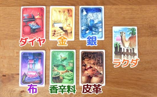 品物カード7種類|ジャイプル