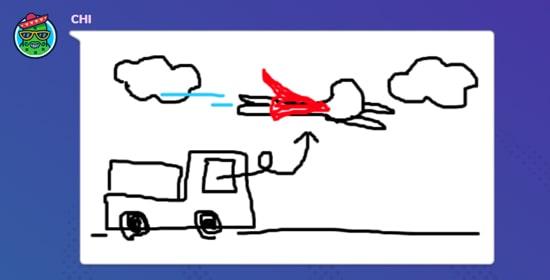 空飛ぶトラック運転手の絵|ガーティックフォン(Gartic Phone)